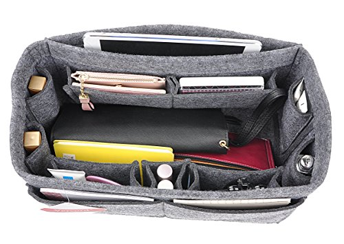 12-Pocket Felt Purse Organizer, Bag Handbag Organizer Insert For Women, Bag in Bag, Speedy 30 and Speedy 35 Grey M