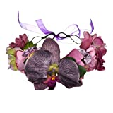Vivivalue Boho Moth Orchid Flower Crown Hair Wreath Halo Floral Garland Headband Headpiece with Ribbon Festival Wedding Party Purple