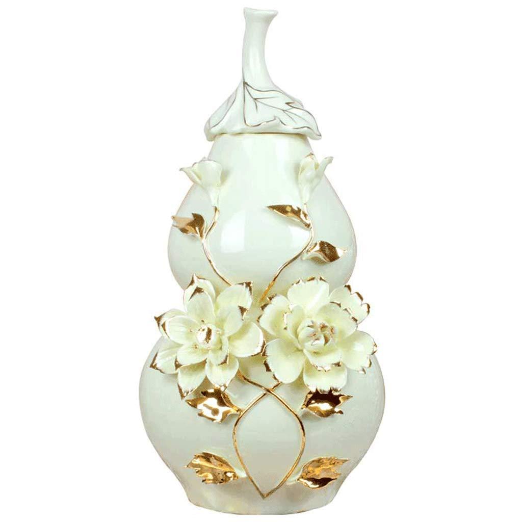 ホームアクセサリー装飾リビングルームテレビキャビネットひょうたん装飾セラミック花瓶ラッキー装飾収納タンク LCSHAN (Color : Ceramic-White, Size : 32cm*17cm*19cm) B07T4JWP55 Ceramic-White 32cm*17cm*19cm