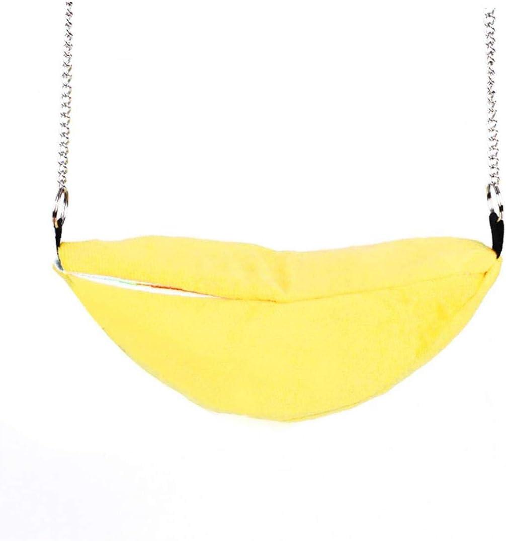 IUwnHceE Plátano Amarillo Hámster Hamaca Alimentos para Mascotas Invierno Cálido Oscilación Juguete Hamster Sueño Cama Colgante Casa Jaula Nido