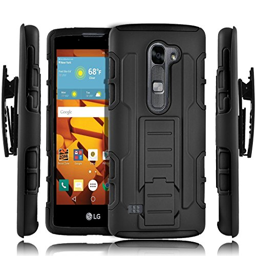 LG K10 Case, LG Premier Case, Kaesar [Heavy Duty] Black Dual Layer Armor Holster With Belt Clip Defender Full Body Protective Hybrid Armor Case for LG K10 / LG Premier LTE