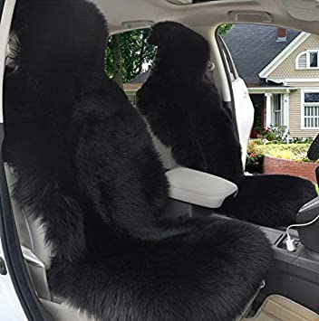 Gracefur Car Seat Cover Genuine Australia Sheepskin Luxury Wool Front Seat Covers Fits Car or Van White SUV Truck