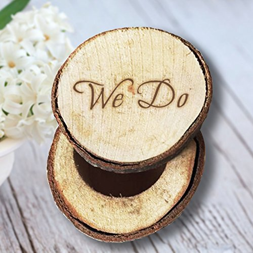 Amazon Com We Do Rustic Wooden Wedding Ring Box Bearer For Ceremony