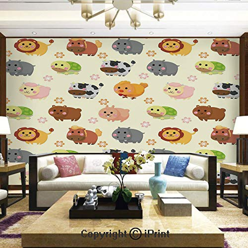 Removable Wall Mural Ideal to Decorate Your Living Room,Cute Animals with Simplistic Art Design Adorable Lion Bear Bunny Cow with Flowers Decorative,Home Decor - 66x96 inches -
