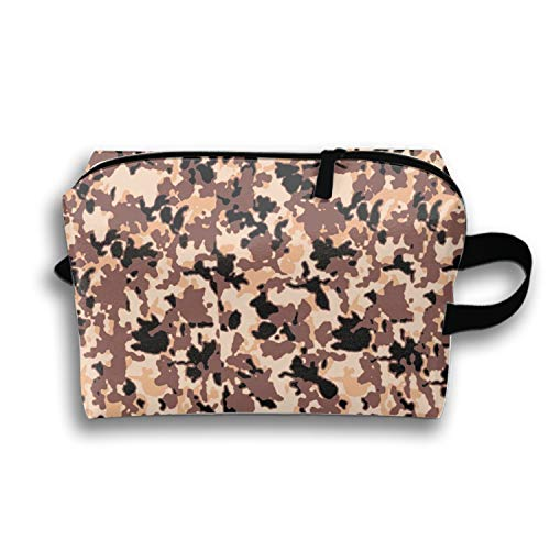 Cosmetic Bag with Zipper Camouflage Pattern Yellow Toiletry/Travel Bag for Brushes Jewelry ()