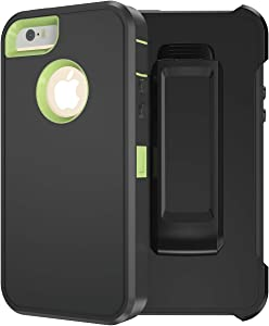 MXX iPhone SE Heavy Duty Case [2016 Edition] TPU and PC Case with 360 Degree Rotating Belt Clip for Apple iPhone SE / 5S/ 5 - Silicone TPU and PC Hard Plastic Inner Shell (Grey/Light-Green)