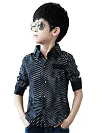 MowMee Little Boys' Casual Button Down Long Sleeve Dotted Print Shirt