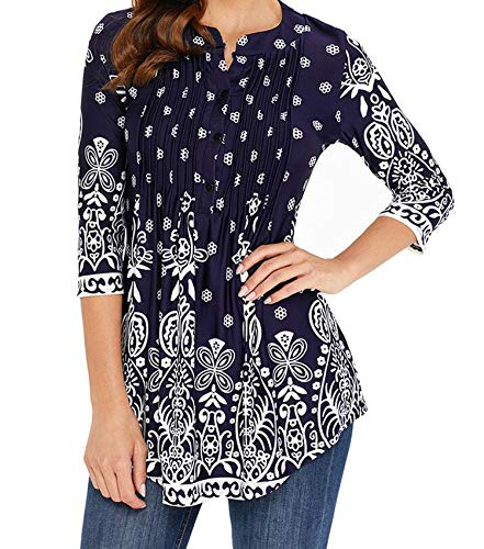 sensitives Spring Tunic Printed Women's Shirt Blouse 3/4 Sleeves Pleated Tops Womens 2019 Summer Fashion Shirts,Sapphire,4XL
