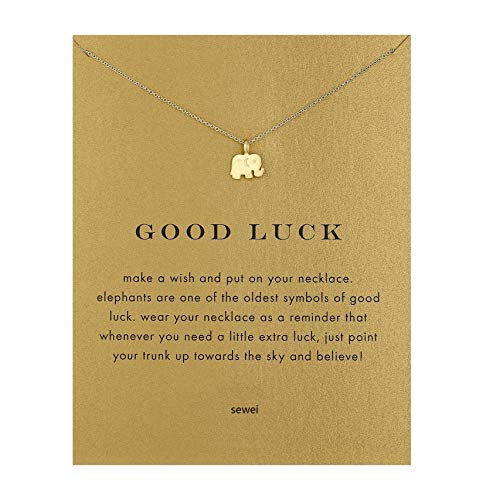 SEWEI Friendship Clover Necklace Unicorn Good Luck Elephant Cross Starfish Swan Necklace Message Card Gift Card (Gold Elephant) (10 Dollar Necklaces)