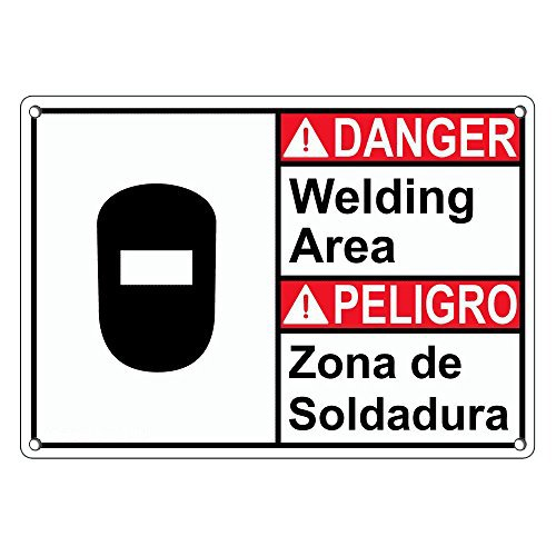 Weatherproof Plastic ANSI Danger Welding Area - Zona De Soldadura Sign with English & Spanish Text and Symbol: Amazon.com: Industrial & Scientific