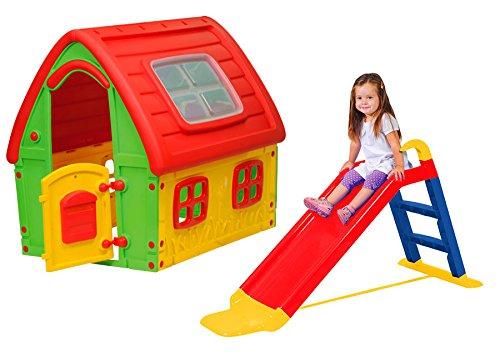 Starplay Kinder Spielhaus mit Rutsche Kinderhaus Kinderrutsche Garten Haus Spiel