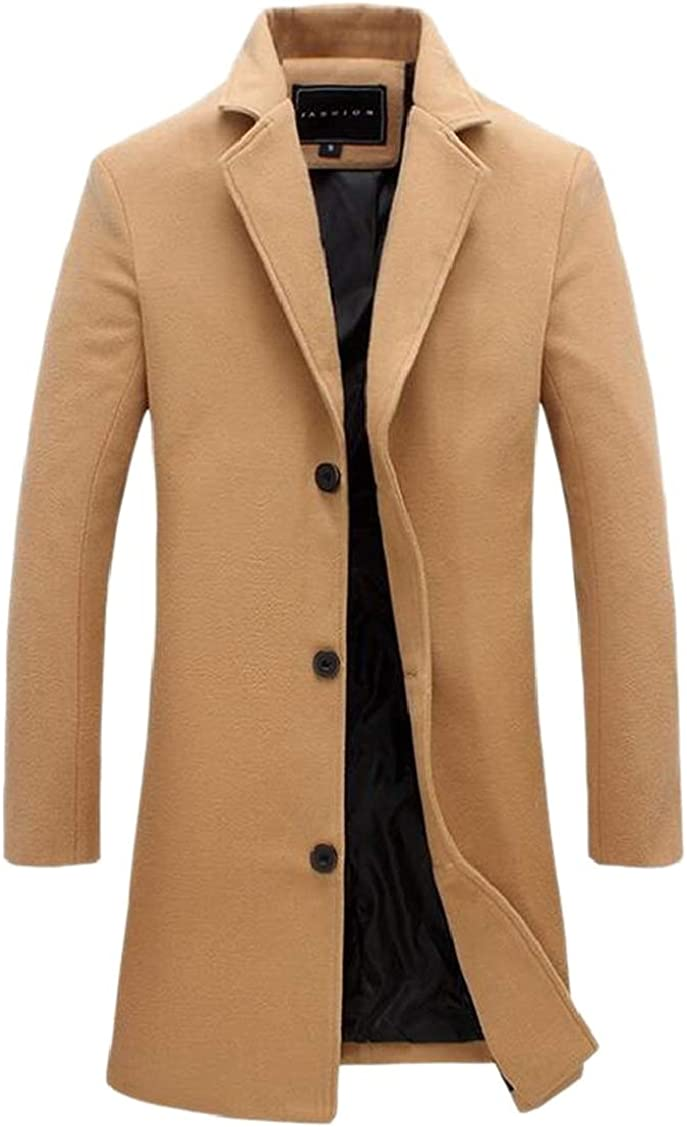 XQS Mens Solid Trench Coat Wool Blend Slim Jacket Double Breasted Overcoat