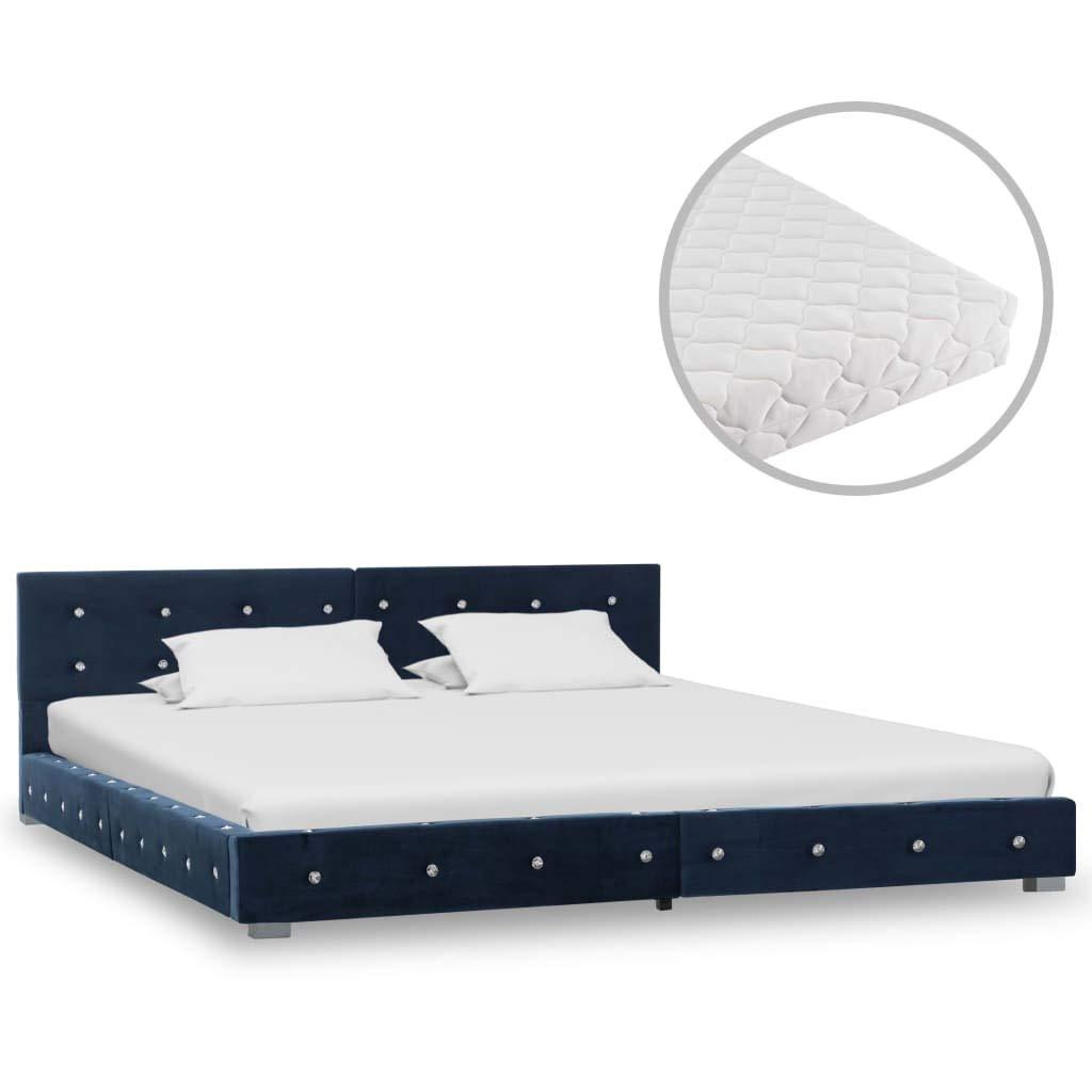 Tidyard Bett mit Matratze Klassisch Polsterbett Doppelbett Bettgestell Bettrahmen Lattenrost Schlafzimmerbett Ehebett Schlafzimmer Blau Samt 160x200cm