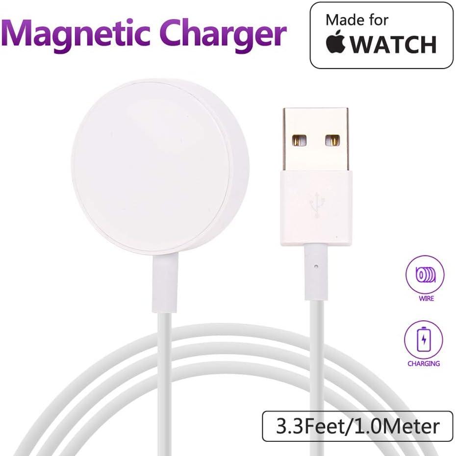 MASOMRUM Chargeur pour Apple Watch 2.8 cm de diamètre, 1.0m Chargeur sans Fil Portable pour iWatch, Chargeur pour Apple Watch 123 Nike +