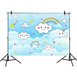 Mehofoto Cartoon Cloud Photography Backdrops 7x5ft Cute Smile Face White Cloud Backdrop Blue Sky Rainbow Children Birthday Party Banner Baby Portraits Photo Background