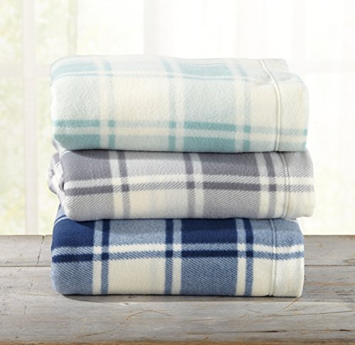Great Bay Home Super Soft Extra Plush Plaid Polar Fleece Sheet Set. Cozy, Warm, Durable, Smooth, Breathable Winter Sheets with Plaid Pattern. Dara Collection By Brand. (Queen, Harbor Blue) by Great Bay Home (Image #2)