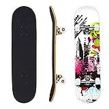 Geelife Skateboard 7 Layers Decks 31'x8' Pro Complete Skate Board Maple Wood Longboards for Teens Adults Beginners Girls Boys Kids