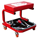Torin TR6300 Big Red Rolling Creeper Garage/Shop Seat: Padded Mechanic Stool with Tool Tray, Red