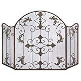 Fireplace Screens Decorative, Arched Iron Antique Florentine Fireplace Screen
