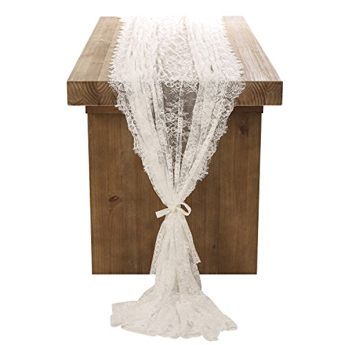Ling's moment White Lace Tablecloth 60x120 Inches Wedding Table Runner Overlay Rustic Boho Wedding Reception Table Decor -