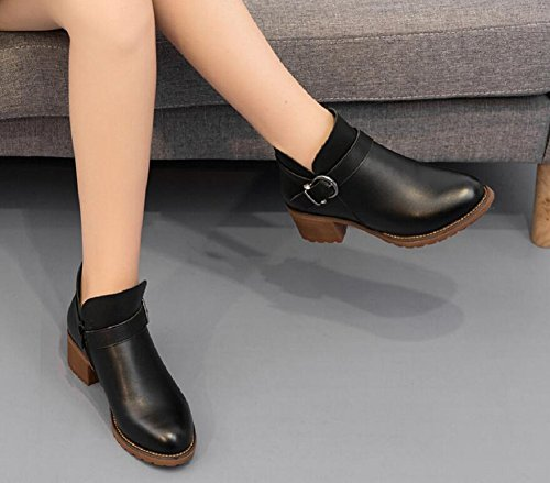 Leather Ankle Shoes 1 Wedge Women's Black Boots JiYe 8qzFfwxa