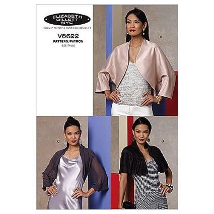 Vogue Patterns V8622 - Patrones de costura para chaqueta torera de mujer (talla Y: