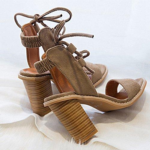 Tacones Gruesas de Sandalias Sandalias Mujer Fiesta Marrón Zapatos Sexy Abiertos Genepeg para tABxnZ