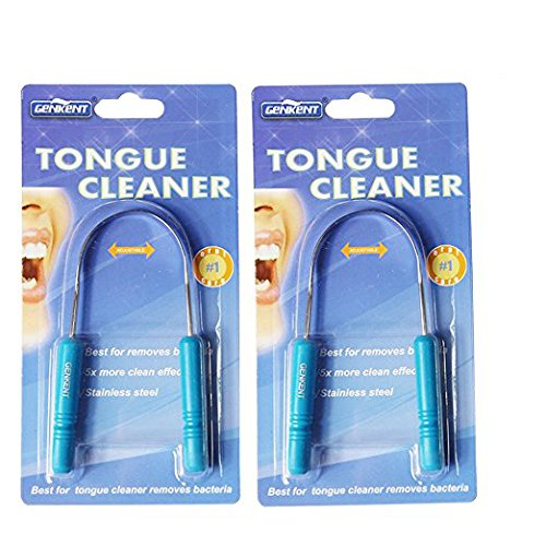 Genkent Tongue Scraper Cleaner Stainless Steel Tongue Sweeper,Remove Oral Bacteria and Bad Breath,2 Pack