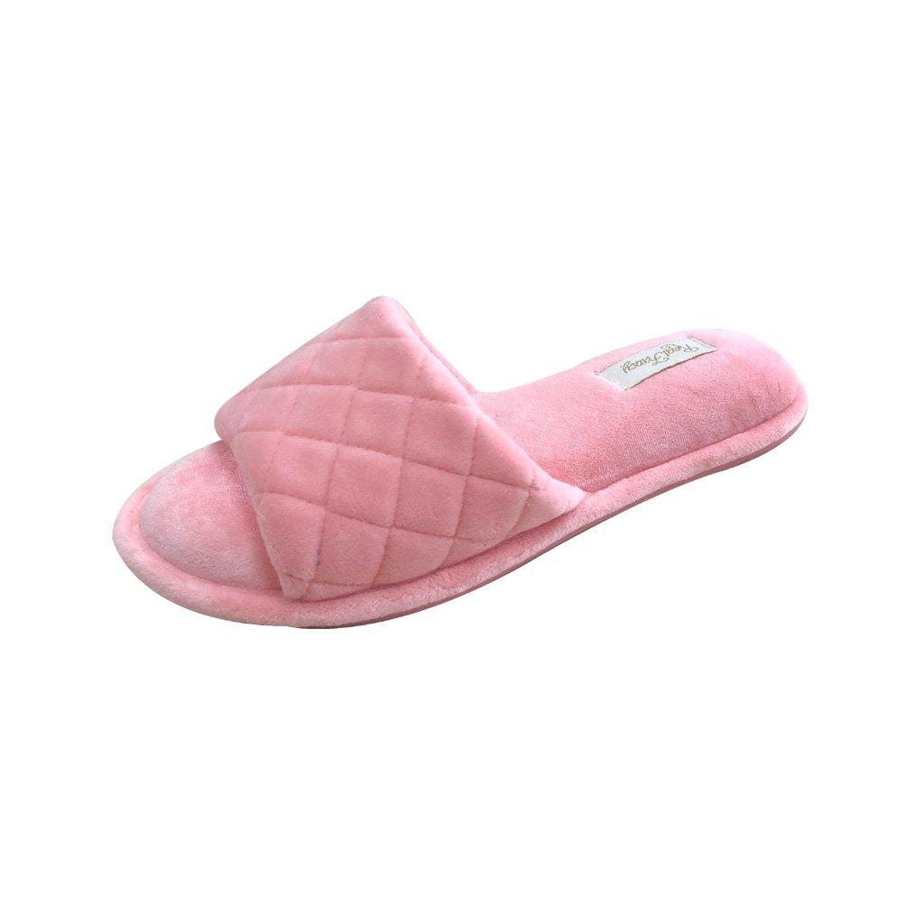 50b433770c9c99 Real Fancy Women s Memory Foam Soft Velvet Open Toe House Slippers Comfort  Non-Slip Slip On Home Shoes (Small   5-6 M US,Pink)