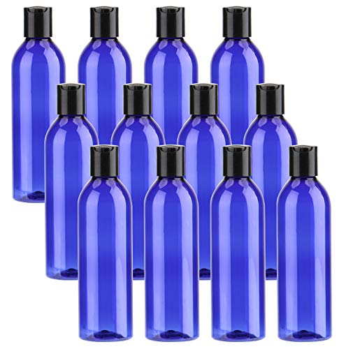 Bekith 12 Pack Blue Empty Plastic Squeeze Bottles with Flip Cap – 8oz Travel Containers For Shampoo, Lotions, Liquid Body Soap, Creams