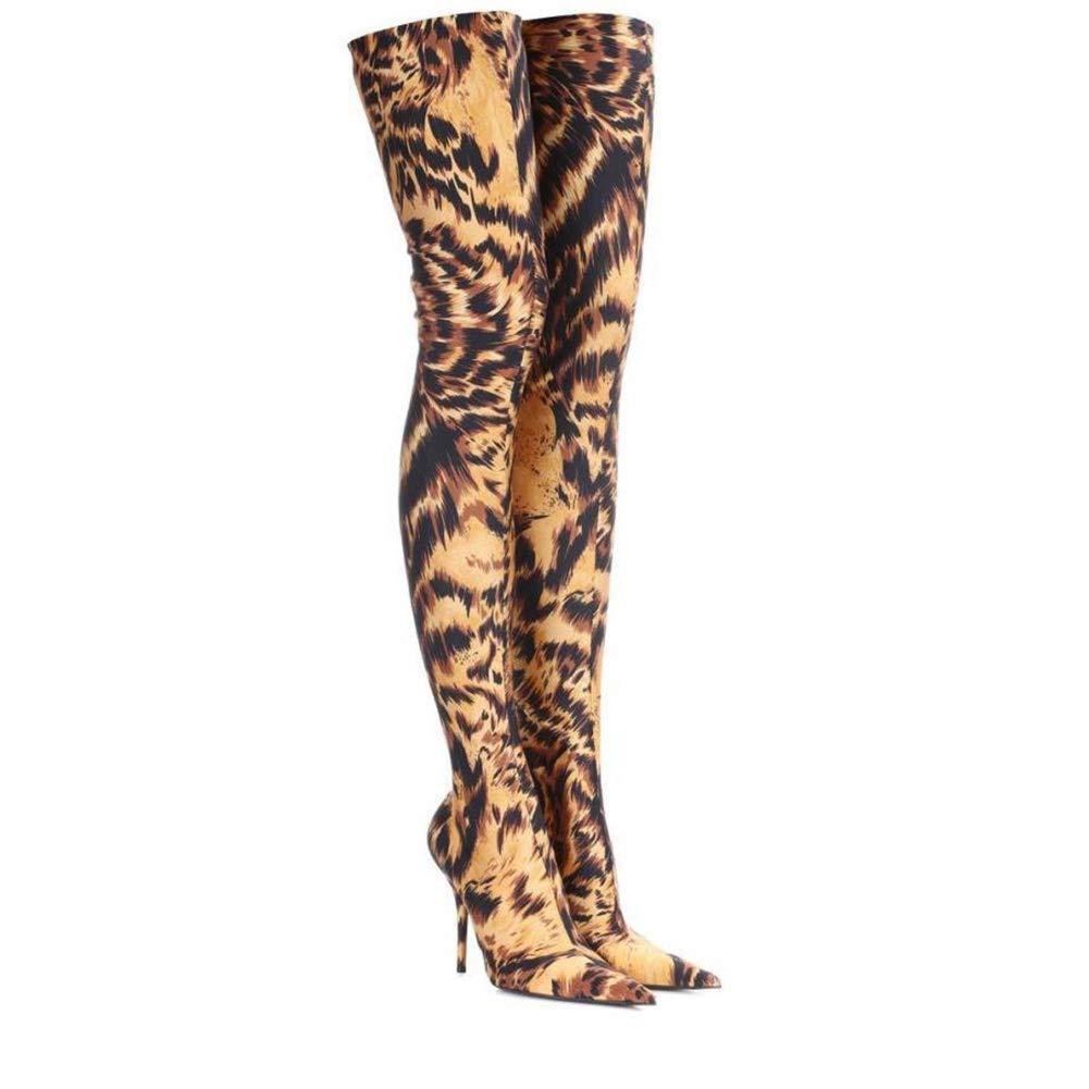 HN Stiefel Damen Oberschenkel Hohe Stiefel Overknee Overknee Overknee Schenkelhoch Über Das Knie Mode Elastisch Stöckelschuhe Spitzschuh Leopard Hoher Absatz Abend Schuhe Größe 35-46 c99c71