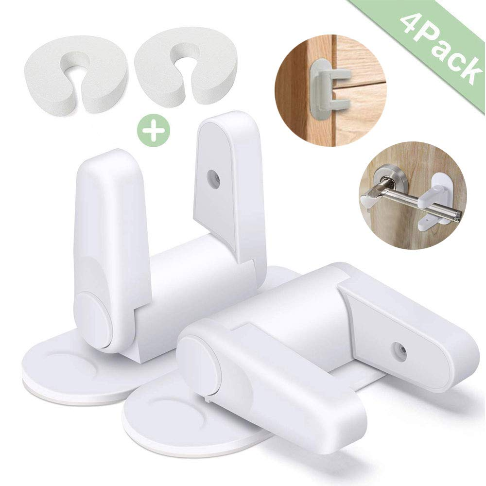 2 Pack Door Lever Lock Child Safety Locks by AIRSPO Child//Pets Proof Door Handle Lock with 3M Adhesive