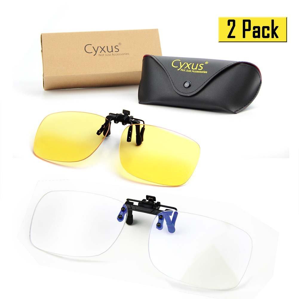 Unisexo(Hombres//Mujeres 1 Transparente Lente y 1 Amarillas Lentes Cyxus 2 Paquetes Filtro de luz Azul Gafas Clip on Computadora Gafas Bloqueo UV Anti Fatiga de Ojos