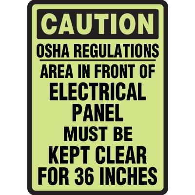 Adhesive Vinyl Electrical Panel Caution Glow Sign - 10