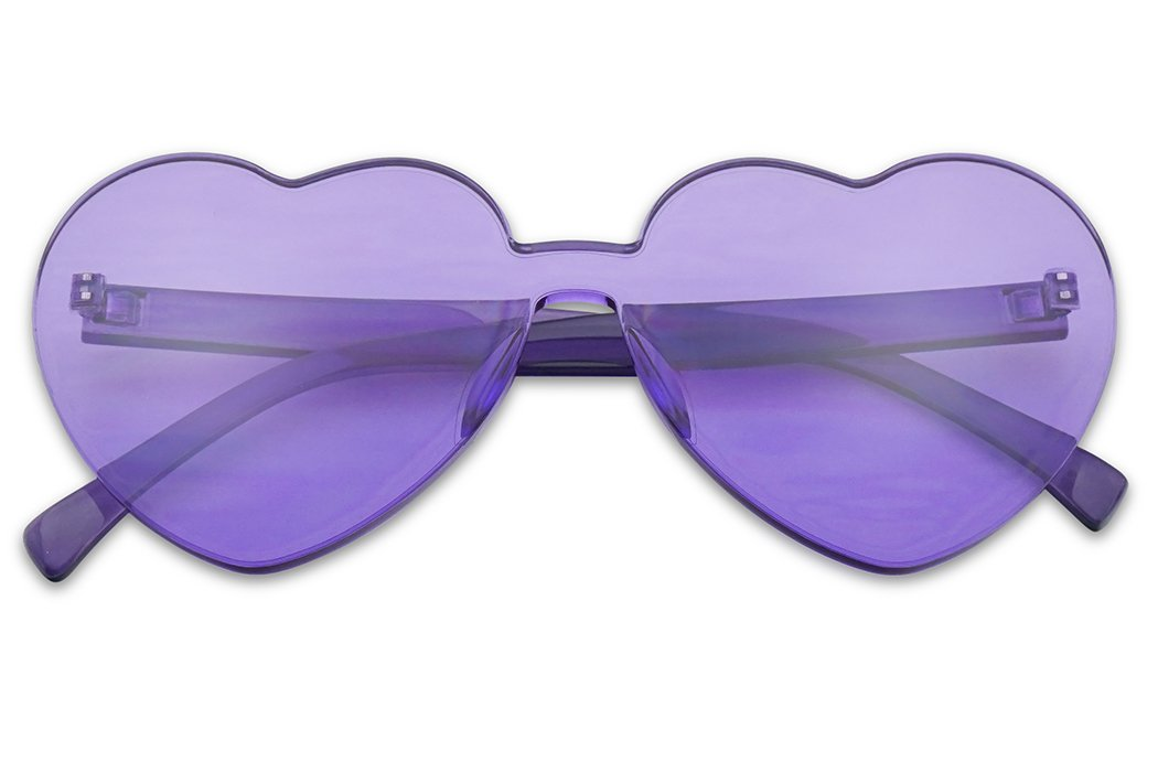 SunglassUP Overisized Novelty Transparent Once Piece Colorful Heart Shape Sunglasses (Violet) by SunglassUP
