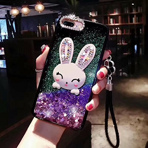 For iPhone 6 Rabbit Case For Girl,Aearl iPhone 6S Cute 3D Cartoon Bunny Hard Back Cover,Luxury Bling Glitter Shiny Diamond Quicksand Liquid Sparkle Silicone Bumper Hand Wrist Strap Rhinestone Pearl