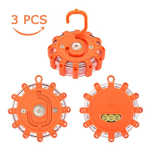 Cheap SAFETYON 3 Pack Led Road Flares Roside Safety Light 9 Modes Flashing Warning Light Emergency Disc Road Beacon with Magnetic Base and Hook for Car Truck Bike Boat