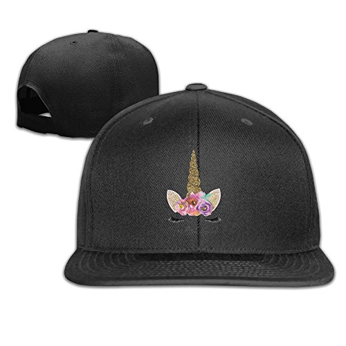 Sakanpo Unicorn Gold Glitter Girly Girls Flat Visor Baseball Cap, Fashion Snapback Hat Black