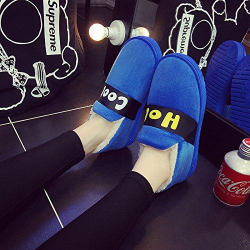 Fankou Invierno Cálido Bolso De Dibujos Animados De Hombres Y Mujeres Jóvenes Con Fondo Grueso De Las Hermosas Zapatillas De Interior De Algodón Antideslizante, 38/39 (para 36-37), 5-41 Azul