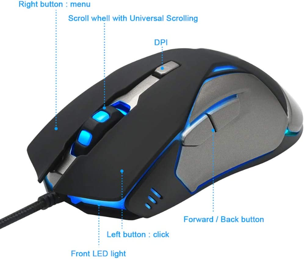 Gaming Mouse USB Wired Gaming Mouse 6 Button Ergonomic Design Mouse LED Multicolor Light Fast Scrolling