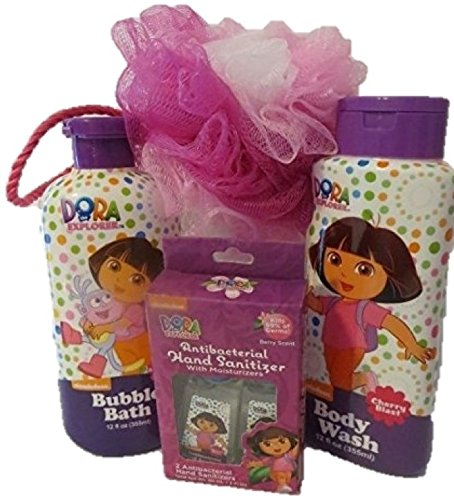 Dora The Explorer Bath Set - Bubble Bath, Body Wash, Shower Puff, Hand Sanitizer