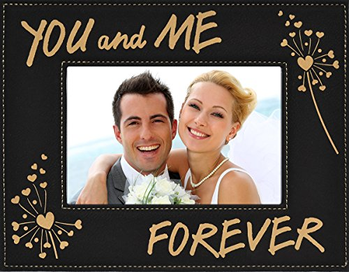 YOU and ME FOREVER ~ Custom Engraved Faux Leather Picture Frame ~ Elegant Black Frame with Gold Engraving ~ Valentine's Day Picture Frame Gift, Birthday, Anniversary, Wedding, Christmas (4