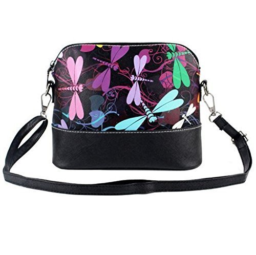 Vincenza Designer Mini Womens Shell Shape Style Dual Purpose Shoulder Handbag Make Up Bag Perfume Butterfly Dragonfly Floral Print Dragonflies