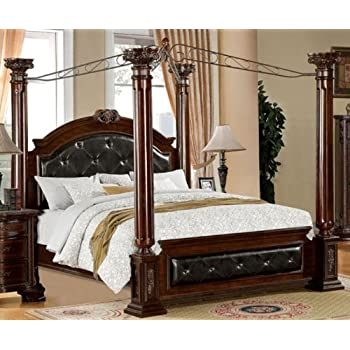 Amazon Com Furniture Of America Majestin Poster Canopy Bed