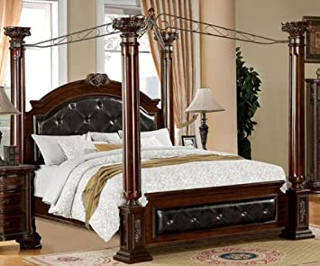 mandalay brown cherry finish cal king size bed frame set - Bed Frame California King