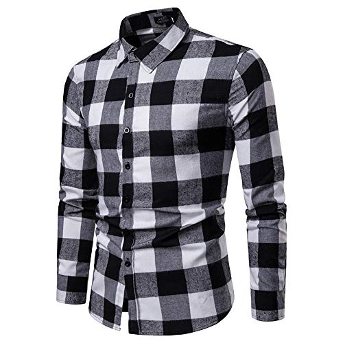 PASATO Men's Thickened Lattice Casual Long Sleeved Shirt Fashion Blouse New Sale(Black,XL=US:L)