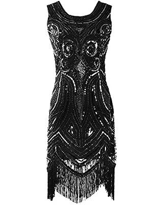 KAYAMIYA Women's 1920S Sequined Beaded Embellishment Fringe Gatsby Flapper Dress