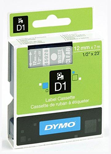 Dymo D1-Schriftband, 12mm x 7m, weiß auf transparent
