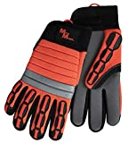 Meta-MIner 484MB Hi-Viz Professional Smooth Palm Mining Glove, M, Gray Palm, Fluorescent Orange Back