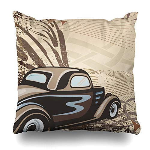 (Ahawoso Throw Pillow Cover Color Race Hot Rod Retro Car Fast Street Auto Automobile Classic Design Fashioned Home Decor Pillow Case Square Size 20 x 20 Inches Zippered Pillowcase )